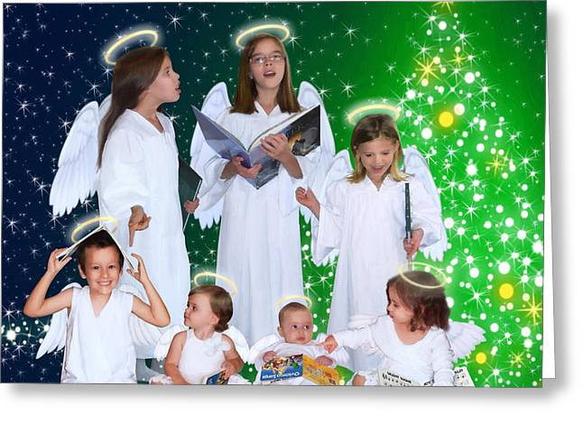 Greeting Card featuring the painting Our 2015 Angel Choir by Doug Kreuger