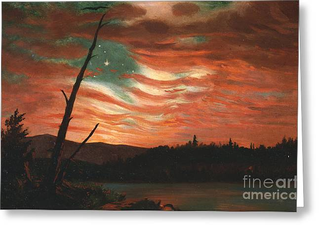 River. Clouds Greeting Cards - Our Banner in the Sky Greeting Card by Frederic Edwin Church
