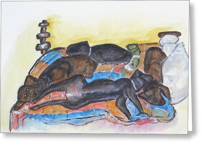 Greeting Card featuring the painting Our Bed Now by Clyde J Kell
