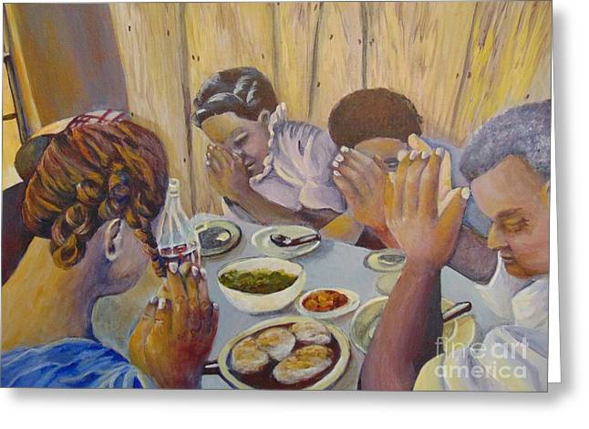 Greeting Card featuring the painting Our Daily Bread by Saundra Johnson