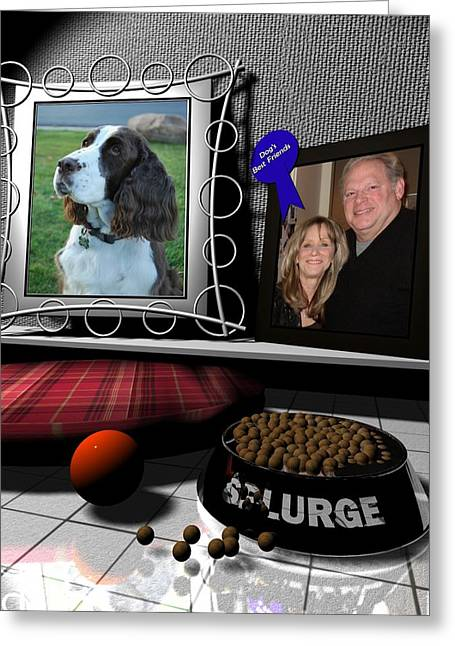 Our Dog Splurge Greeting Card by Stuart Stone