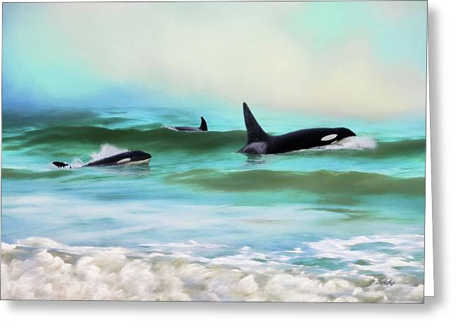 Our Family - Orca Whale Art Greeting Card