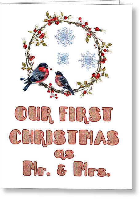 Greeting Card featuring the painting Our First Christmas Watercolor Bullfinches by Georgeta Blanaru
