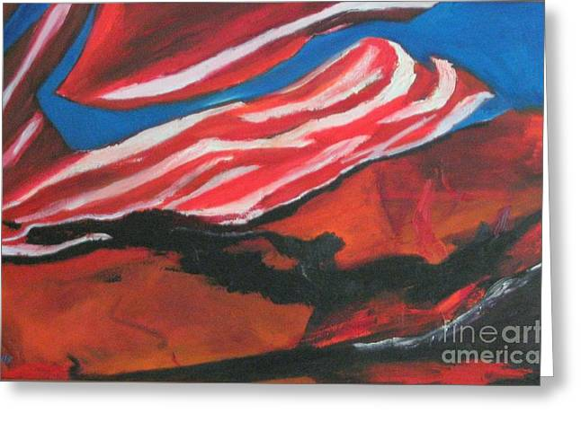 Our Flag Their Oil Greeting Card by Patrick Mills