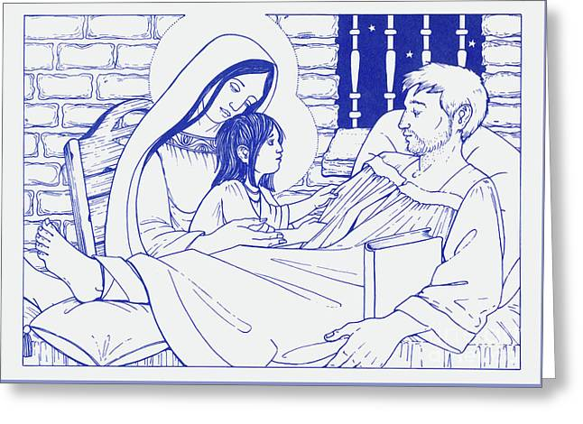 Greeting Card featuring the painting Our Lady And The Holy Child Jesus Visit St Ignatius The Convalescent In Loyola by William Hart McNichols