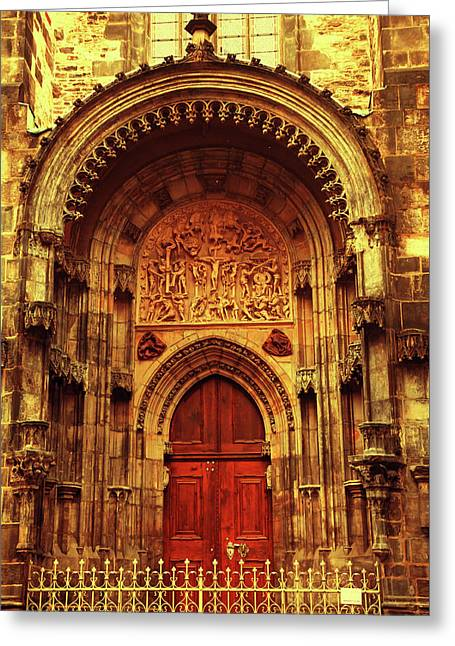 Greeting Card featuring the photograph Our Lady Before Tyn 1. Architecture. Series Golden Prague by Jenny Rainbow