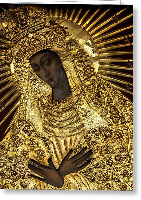 Our Lady Of Grace Of Gate Of Dawn Icon Greeting Card by Magdalena Walulik