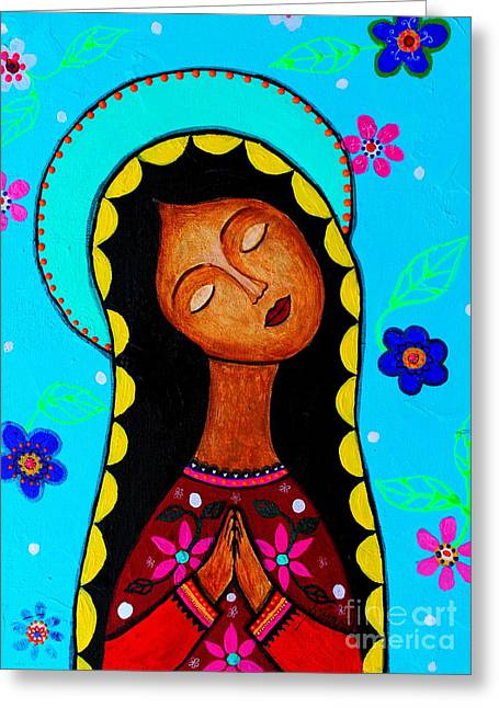 Greeting Card featuring the painting Our Lady Of Guadalupe II by Pristine Cartera Turkus