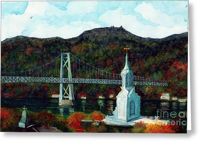 Our Lady Of Mt Carmel Church Steeple - Poughkeepsie Ny Greeting Card by Janine Riley
