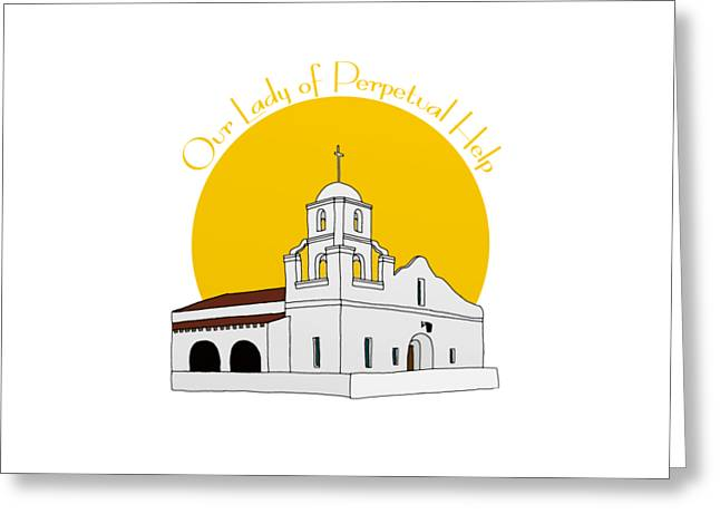 Our Lady Of Perpetual Help Adobe Mission Scottsdale Arizona Greeting Card by Priscilla Wolfe