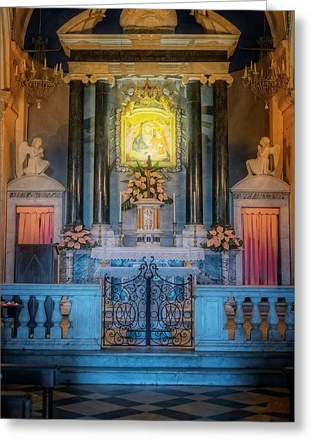 Our Lady Of Reggio Sanctuary Vernazza Cinque Terre Italy Greeting Card by Joan Carroll