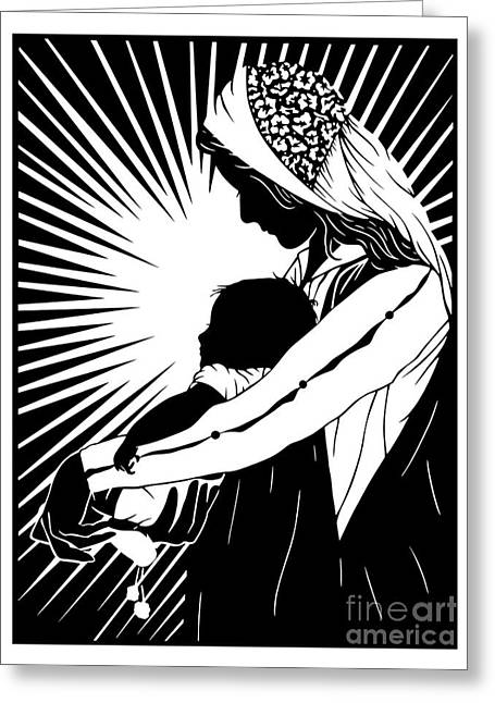 Our Lady Of The Light - Version 1 - Dplo1l Greeting Card by Dan Paulos