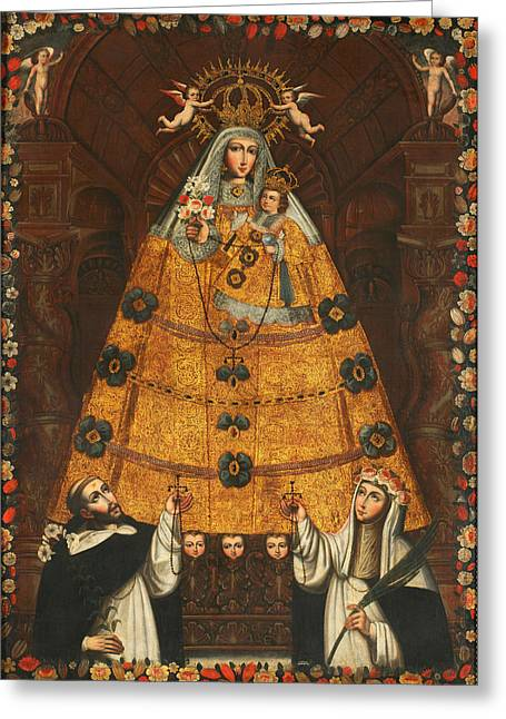 Our Lady Of The Rosary With Saint Dominic And Saint Rose  Greeting Card