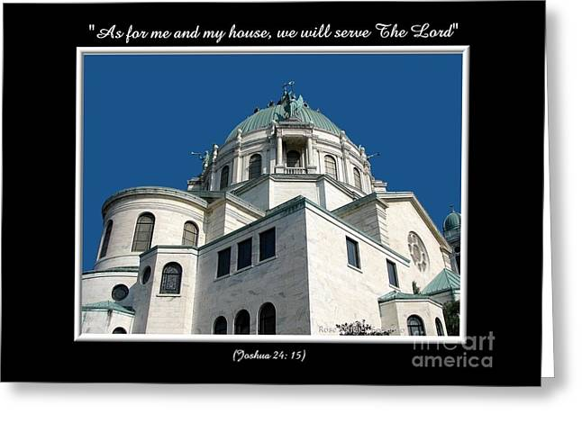 Our Lady Of Victory Basilica With Bible Quote Greeting Card by Rose Santuci-Sofranko
