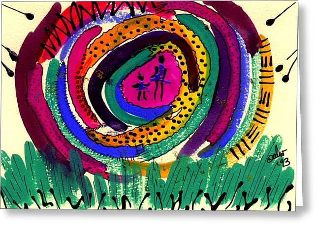 Greeting Card featuring the mixed media Our Own Colorful World I by Angela L Walker
