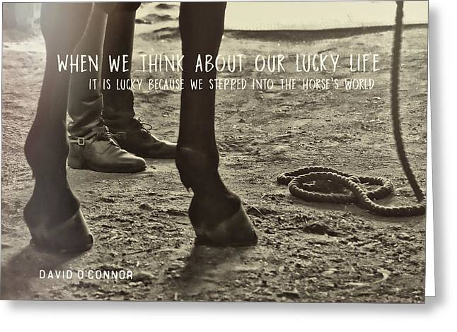 Greeting Card featuring the photograph Our Partnership Quote by Dressage Design