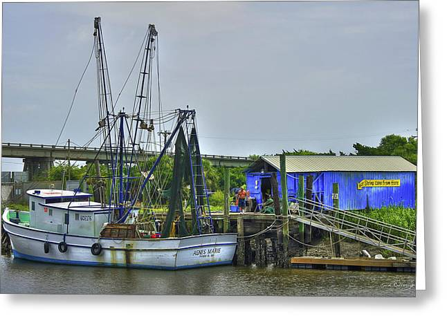 Our Shrimp Come From Here Tybee Island Georgia Art Greeting Card by Reid Callaway