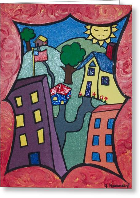 Our Town Greeting Card by Jennifer Hernandez