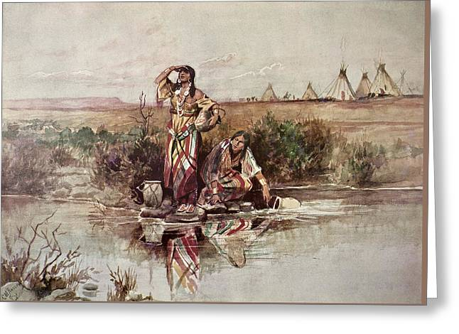 Our Warriors Return Greeting Card by Charles Marion Russell