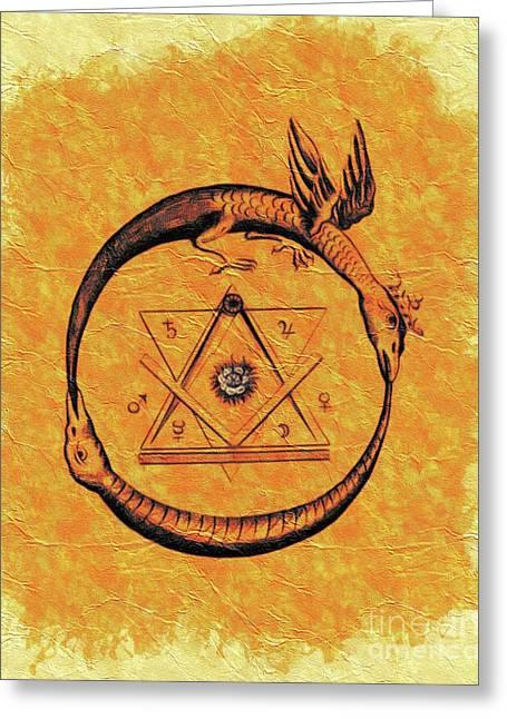 Ouroboros, Freemasonic Symbol Greeting Card