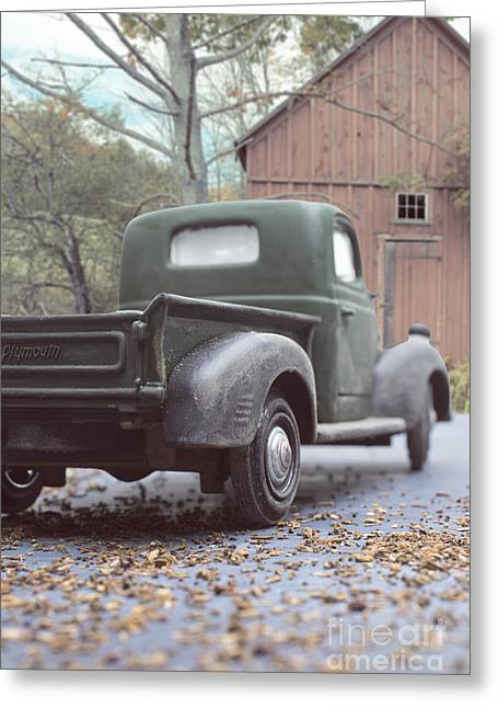 Out By The Barn Old Plymouth Truck Greeting Card by Edward Fielding