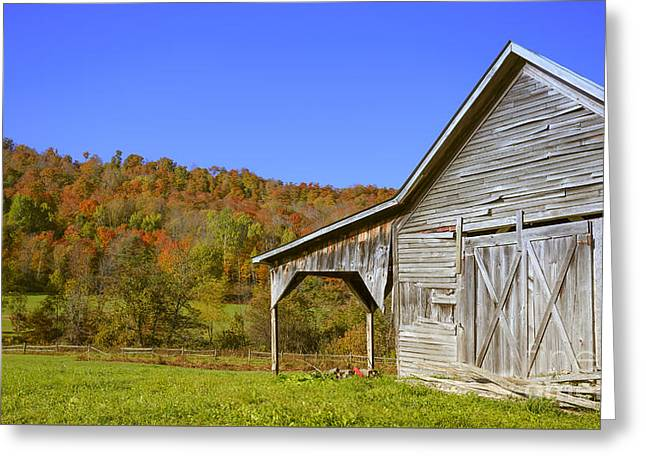Out By The Old Barn Greeting Card by Edward Fielding