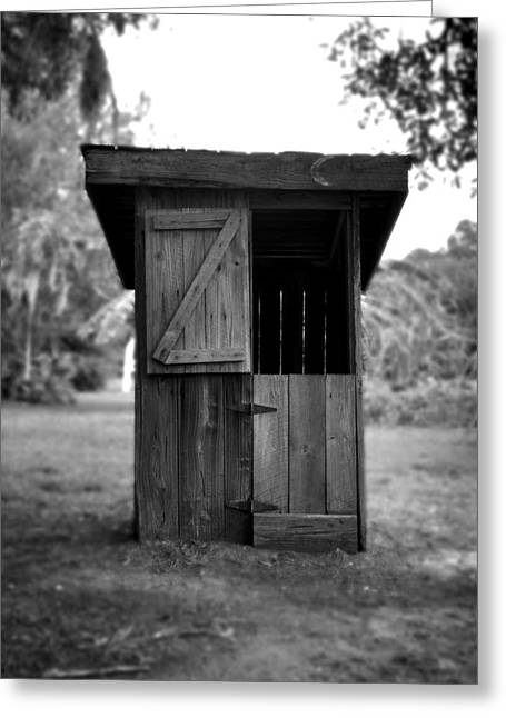 Wooden Antique Building Greeting Cards - Out House in Black and White Greeting Card by Rebecca Brittain