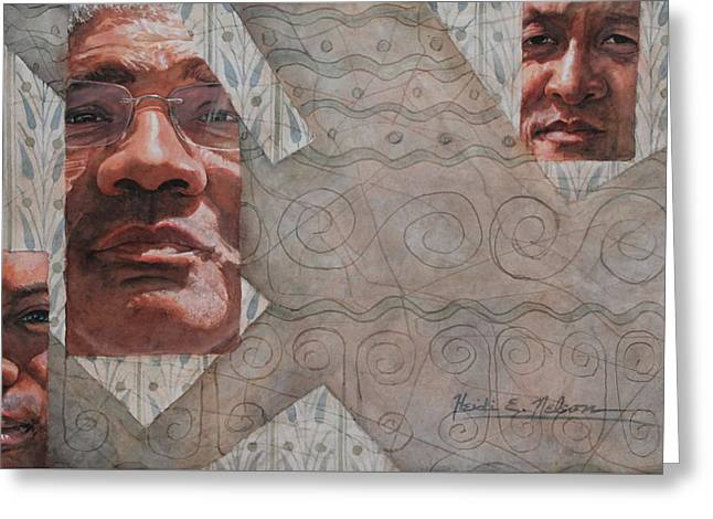 Interracial Art Greeting Cards - Out of Old Greeting Card by Heidi E  Nelson