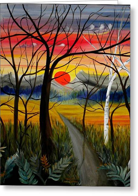 Greeting Card featuring the painting Out Of The Woods by Renate Nadi Wesley