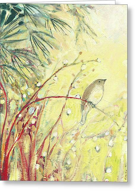 Sparrow Paintings Greeting Cards - Out on a Limb Greeting Card by Jennifer Lommers