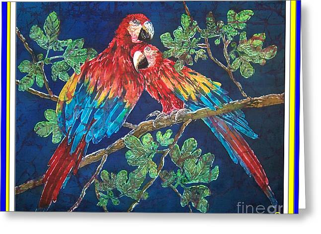 Out On A Limb- Macaws Parrots - Bordered Greeting Card by Sue Duda