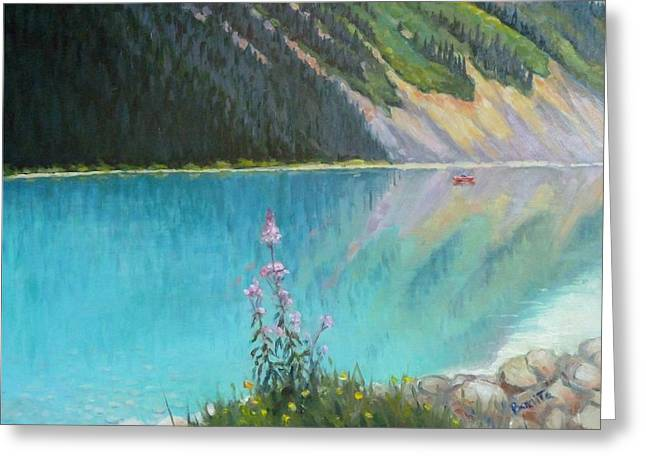 Out On Lake Louise Greeting Card