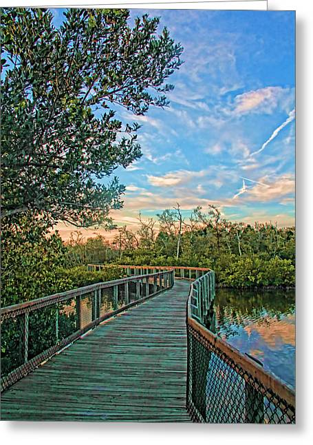 Out On The Boardwalk - Vertical Greeting Card by HH Photography of Florida