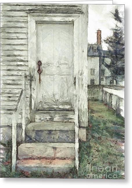 Out The Back Door Pencil Greeting Card by Edward Fielding