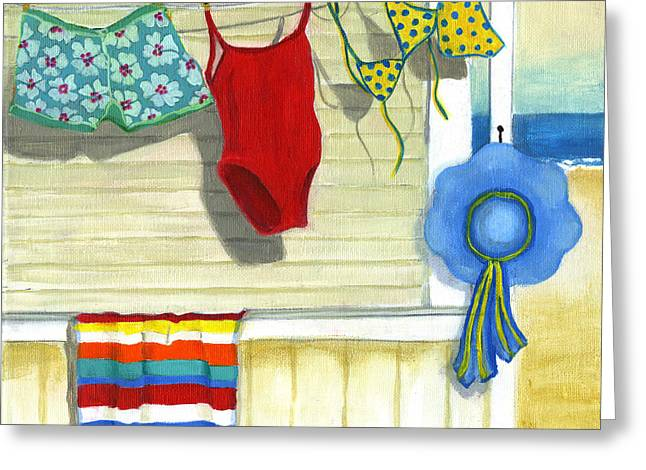 Sunbathing Paintings Greeting Cards - Out To Dry Greeting Card by Debbie Brown