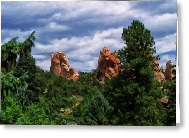 Greeting Card featuring the digital art outcroppings in Colorado Springs by Chris Flees