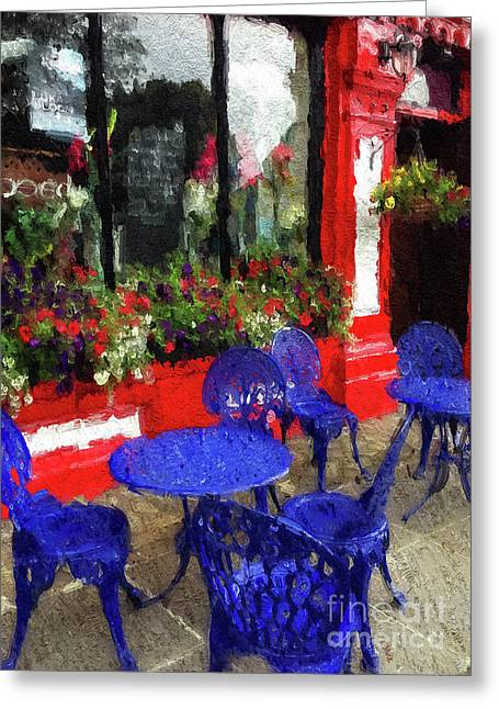 Greeting Card featuring the photograph Outdoor Cafe, Ireland by Brenda Tharp
