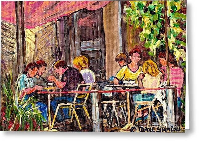 Outdoor Cafe Paintings Paris Style Sidewalk Terrace Rue St Denis Original Bistro Art Carole Spandau  Greeting Card by Carole Spandau