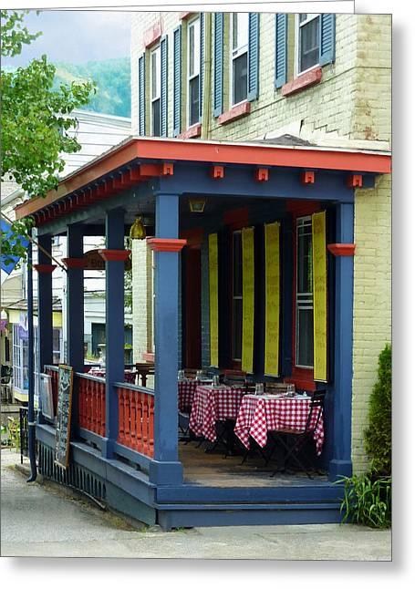 Restaurant Greeting Cards - Outdoor Cafe with Checkered Tablecloths Greeting Card by Susan Savad