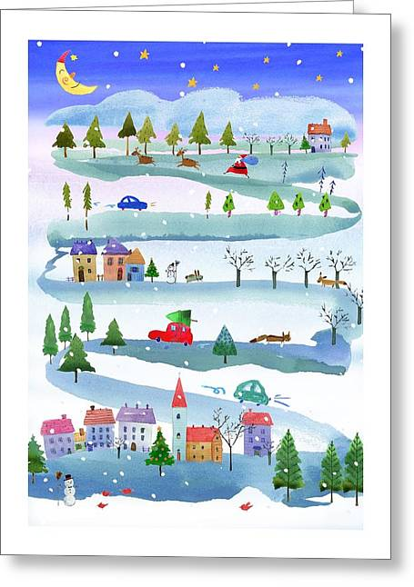Outdoor Christmas Events Linked Greeting Card by Gillham Studios