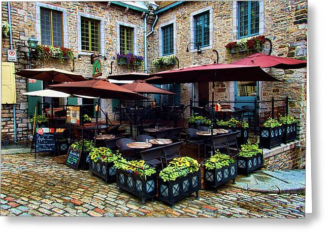 Outdoor French Cafe In Old Quebec City Greeting Card