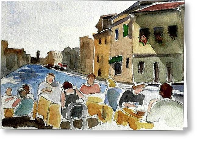 Outdoor Lunch Greeting Card by Janet Butler