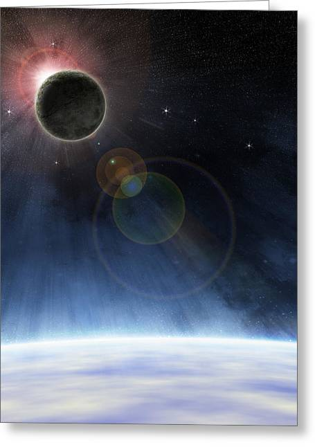 Greeting Card featuring the digital art Outer Atmosphere Of Planet Earth by Phil Perkins