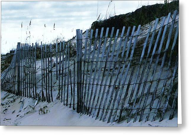 Outer Banks Nc Blue Fence Greeting Card by Oscar Duran