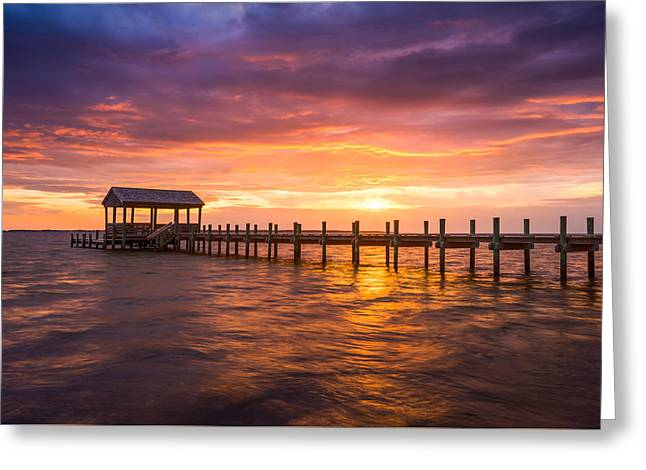 Outer Banks North Carolina Nags Head Sunset Nc Scenic Landscape Greeting Card by Dave Allen