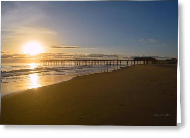 Greeting Card featuring the photograph Outer Banks Pier Sunrise by Barbara Ann Bell