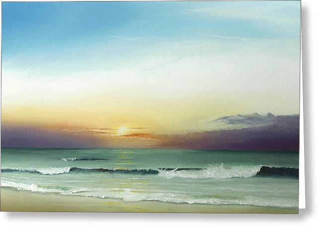 Greeting Card featuring the painting East Coast Sunrise by Albert Puskaric