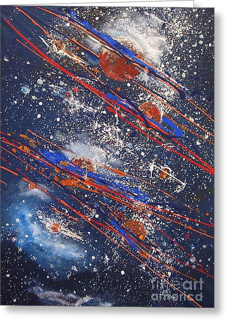 Outer Space Greeting Card by Miroslaw  Chelchowski