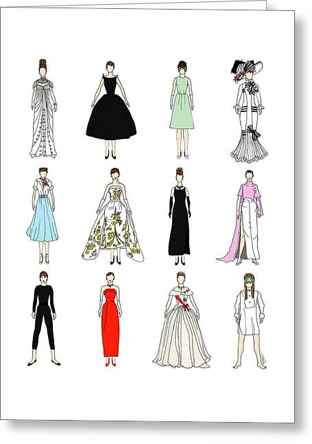 Outfits Of Audrey Fashion Greeting Card
