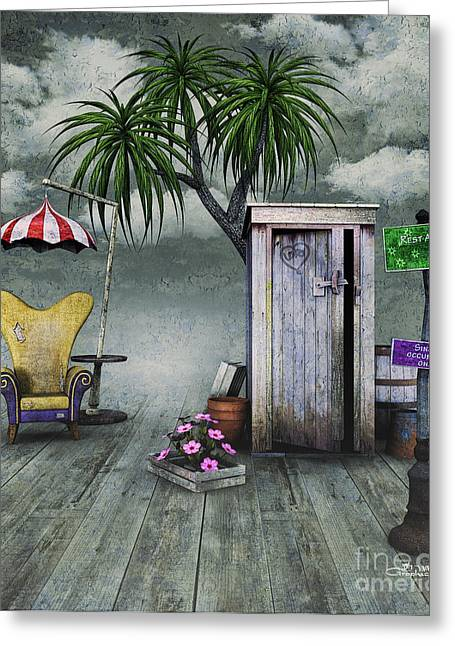 Outhouse Greeting Card by Jutta Maria Pusl